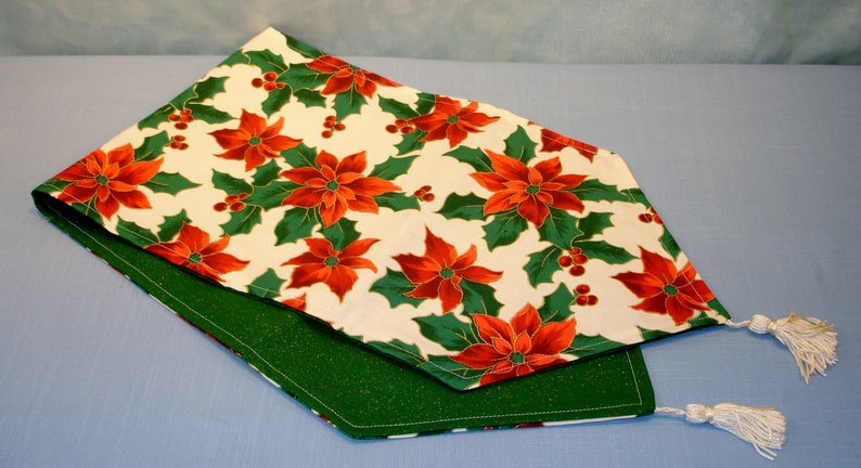 Reversible Christmas Poinsettias on Ivory Table Runner with image 0