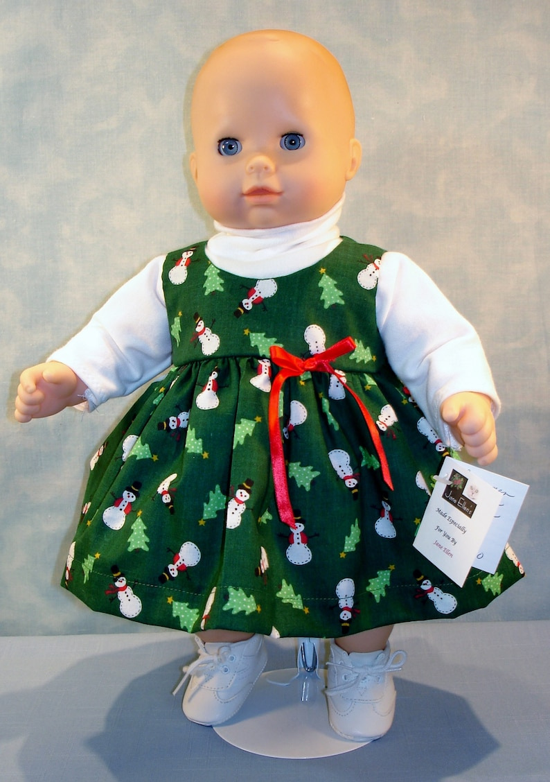 15 Inch Doll Clothes  Snowmen on Green Jumper Outfit handmade image 0
