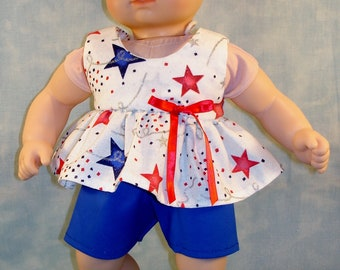 15 Inch Doll Clothes - 4th of July Stars and Confetti with Blue Shorts Outfit handmade by Jane Ellen