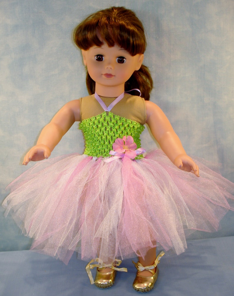 18 Inch Doll Clothes  Pink and Green Headband Tutu with Gold image 0