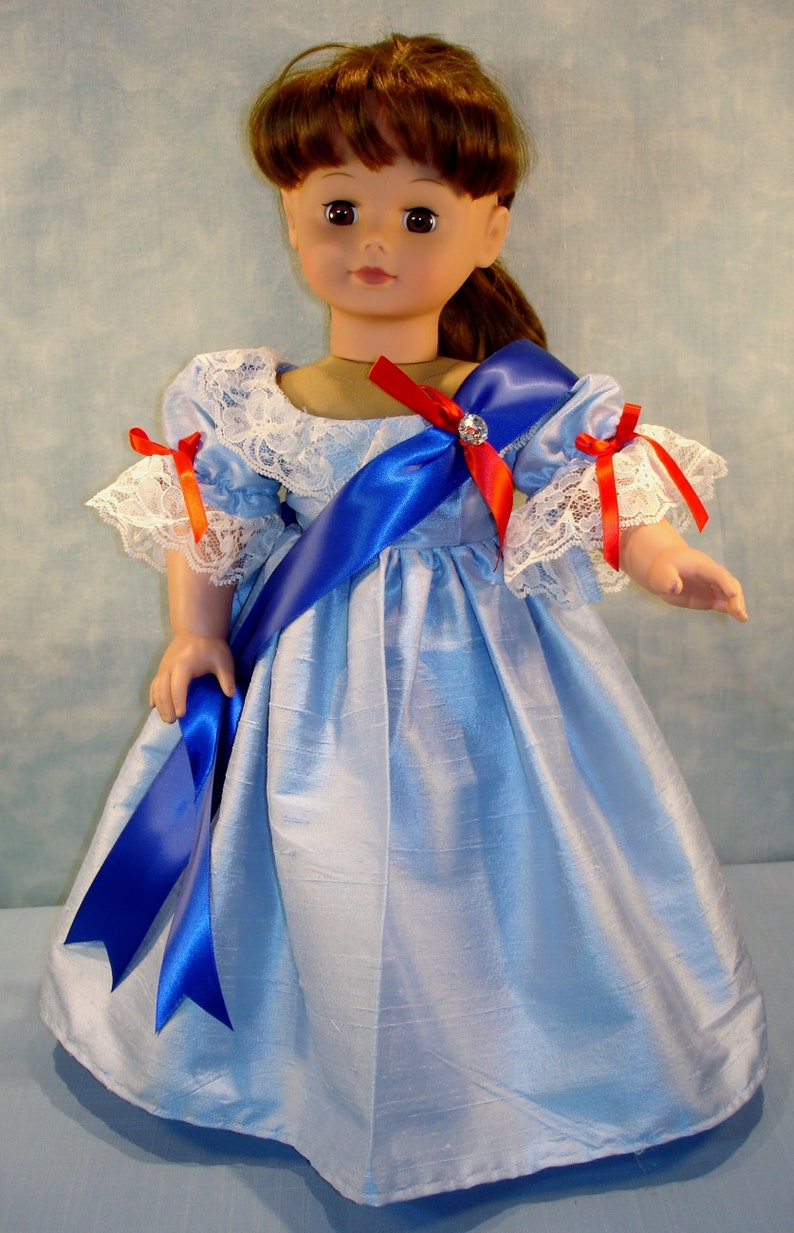 18 Inch Doll Clothes  Queen Victoria Blue Silk Dupioni Ball image 0