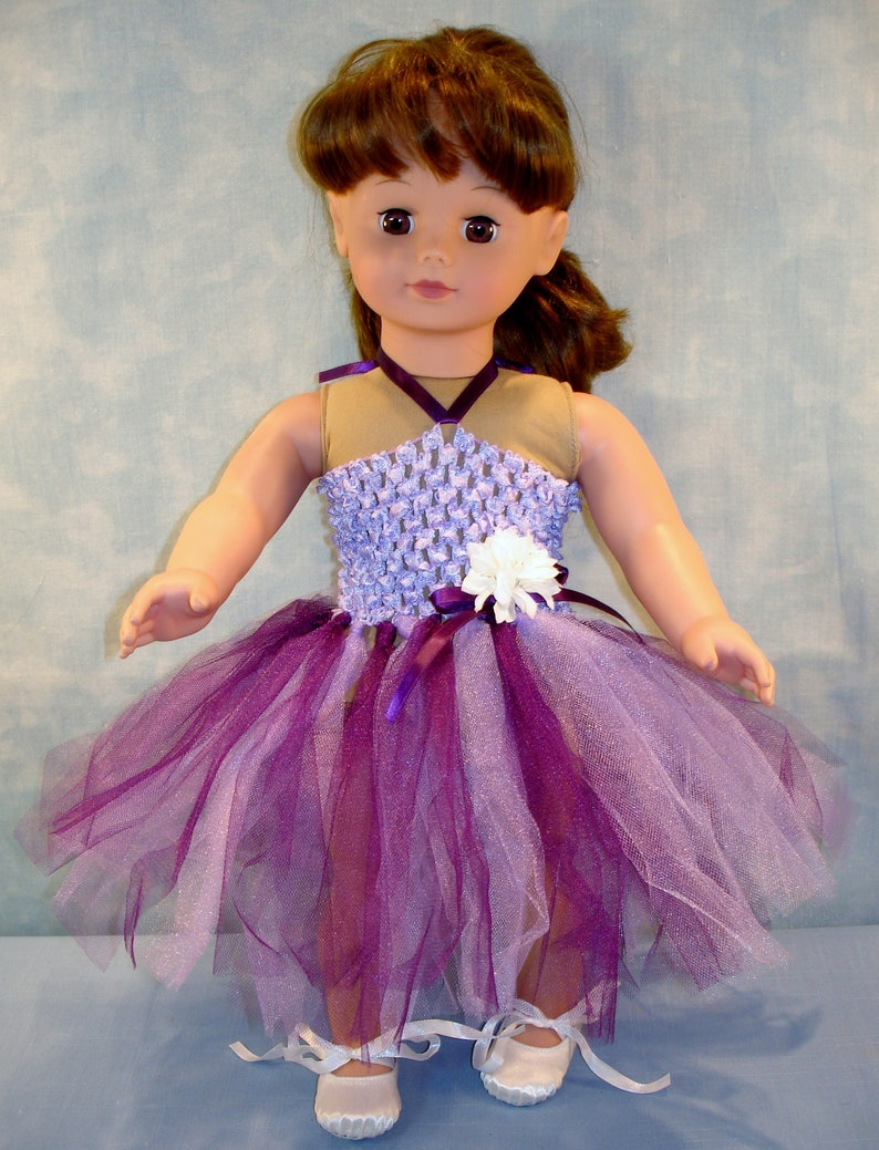 18 Inch Doll Clothes  Lavender and Grape Headband Tutu with image 0