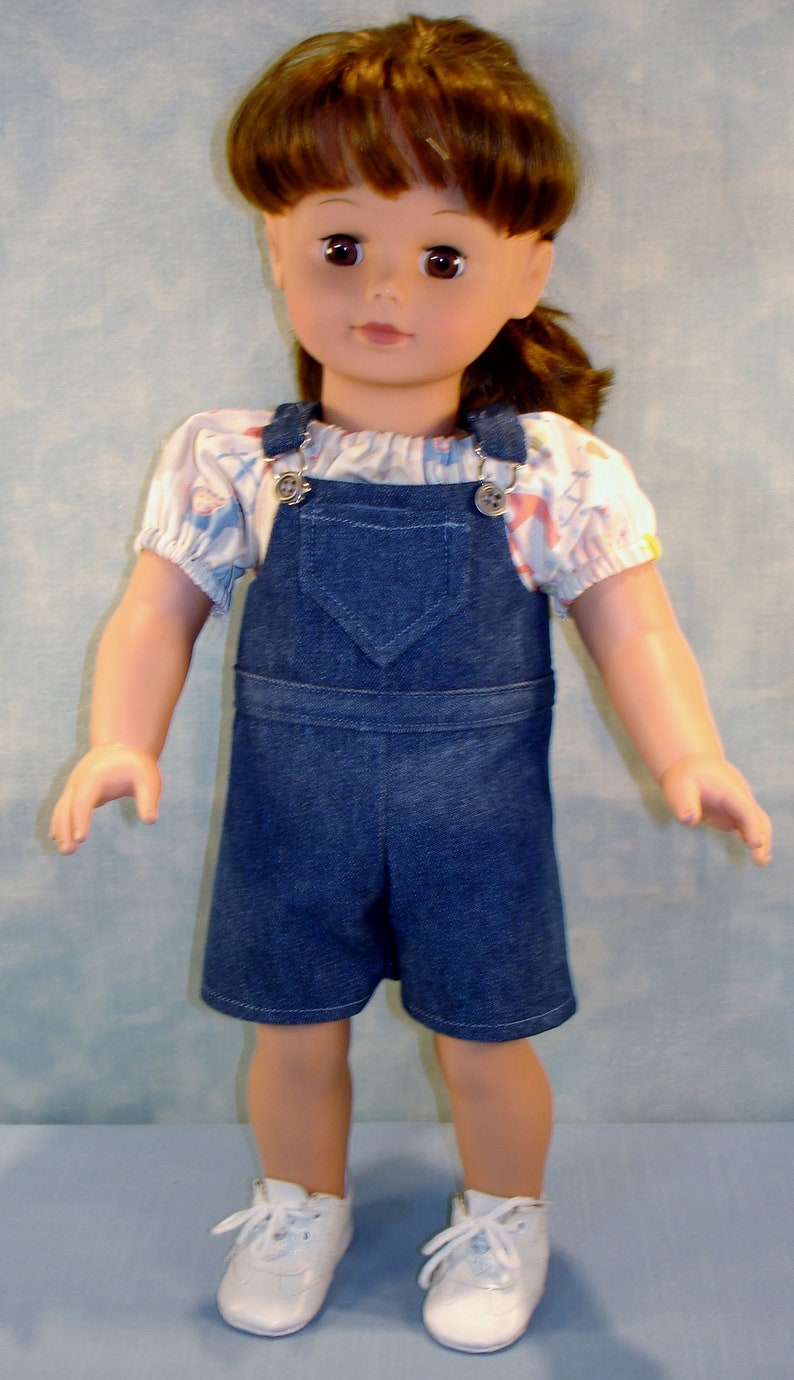 18 Inch Doll Clothes  Denim Overalls and Blouse Outfit image 0