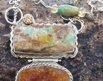 NO LONGER AVAILABLE Royston Turquoise. Citrine Druzy. Swarovski Crystals. Handmade Chain. Random.
