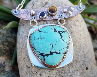 NO LONGER AVAILABLE  Turquoise and Gemstone Cowhead pendant necklace.