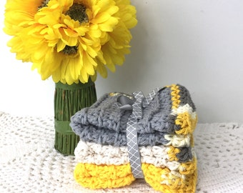 Silver and Gold Hand Crochet Washcloths Cotton Crochet Dishcloths Kitchen and Bath Eco Friendly Crochet Washcloths