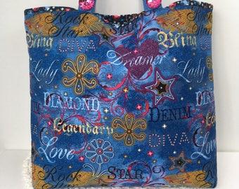 Shoulder Tote Bag Denim Diva Cotton Shoulder Tote Bag Blue Jeans Bag Market Tote Bag Gifts for Girls Shoulder Tote Denim Shoulder Bag