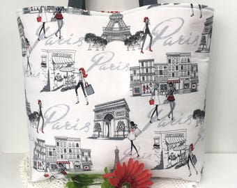Shoulder Tote Bag Shopping in Paris Cotton Shoulder Tote Bag Diva Shoulder Tote Cotton Shopping Bag Cotton Tote Gifts for Girls Paris Tote