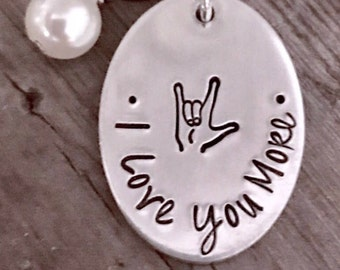 Custom Personalized, Sign Language Jewelry, ALS, American Sign Language, I Love You, Sign Language Jewelry, Hand Stamped, Hand Made Jewelry