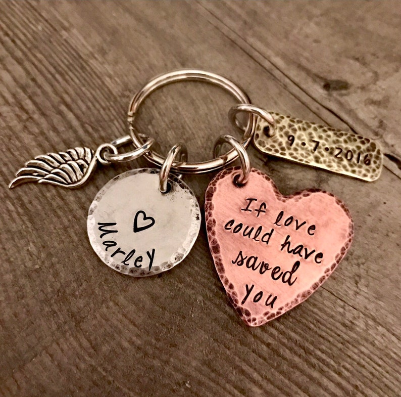 Hand Stamped Angel If love could have saved you Personalized Jewelry- Key Chain Jewelry Bereavement Memorial Remembrance