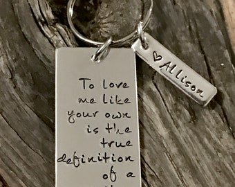 Mother, Step Child, Hand Stamped, Step Mom, Keychain, Mom, Mommy Key Chain, Step Mother, Stepmom, Mother's Day Gift, Gifts for Her, Adopted