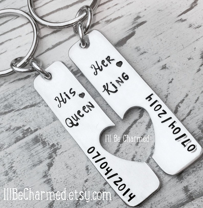 cf9d821292 Hand Stamped His Queen Her King Anniversary Date Special | Etsy