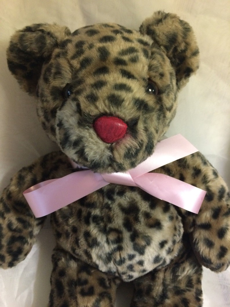 Teddy Bear Plush with Jaguar print pattern faux fur 18