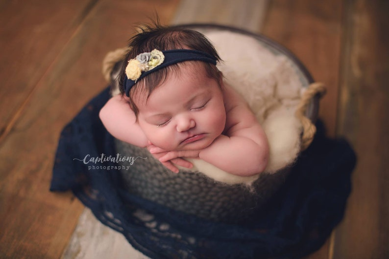 Newborn Photo Prop Newborn Photography Newborn Wrap Discounted:  Turquoise Lace Wrap with Scalloped Edge for Newborn Photo Shoot