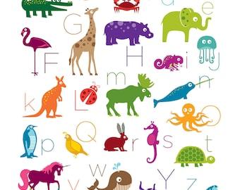 11x14 Animal Alphabet Poster Digital Print