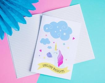 Unicorn Lined A5 Notebook - Unicorn Thoughts - Unicorn Notes - Unicorn Stationery - Mythical Themed Gift - Back to School Notebook