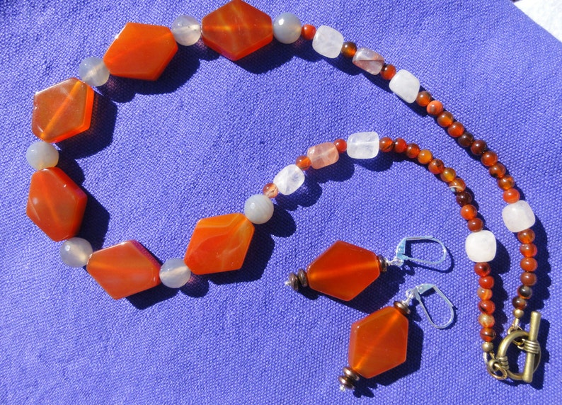 Orange Necklace Carnelian Necklace Gemstone Necklace Carnelian and Agate Necklace Orange Necklace