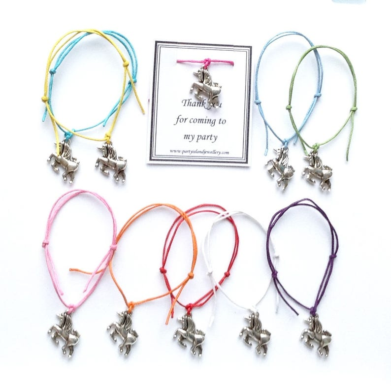 1bbe99e0f2924 UNICORN Party Bracelet - Hen Night Batchelorette Baby Shower Thank You For  Coming - 12 Colours - Can be Personalised