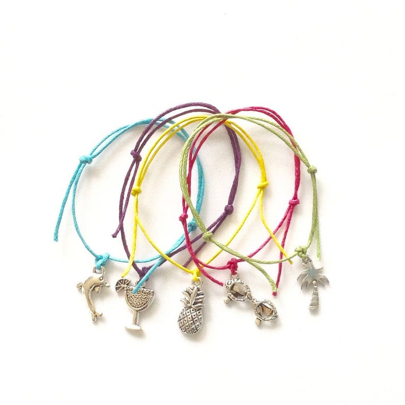 69112eb35dfce 5 Tropical Beach Mix Friendship Bracelets - Hen Night Party Bags - Tropical  Charms - Pineapple - Palm Tree - Sunglasses - Dolphin - Cocktail