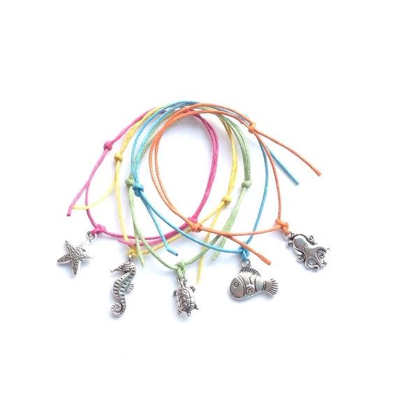 5 BEACH MIX Charm Friendship Bracelets Hen Night Beach Wedding Party Bags