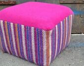 Reupholstered Fuchsia Wool Pouf