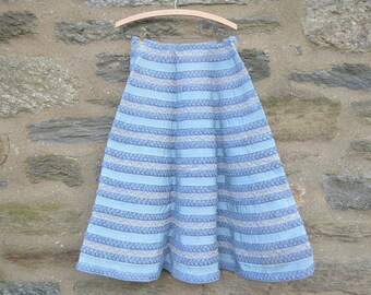 ON SALE  A Vintage Skirt Made from Rows of Three Kinds of Light Blue Ribbons