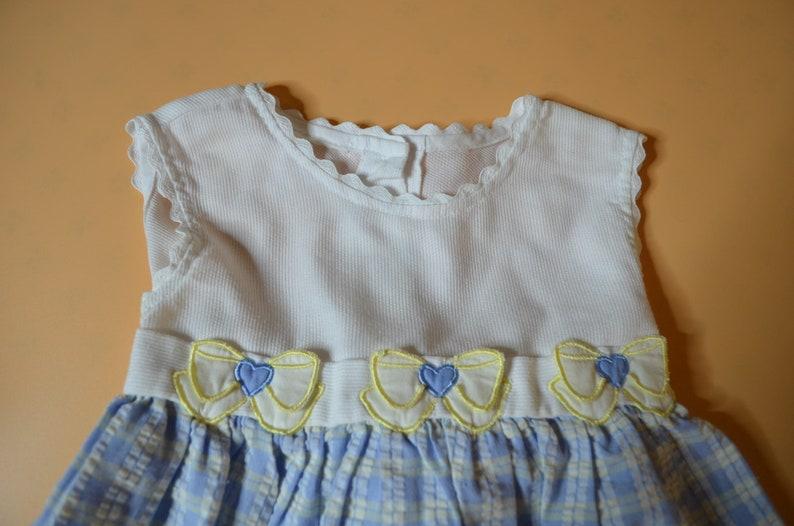 Baby Girl/'s Dress Size 12 Months Blue Plaid Seersucker Skirt Under a White Sleeveless Top