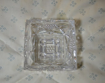 ON SALE  Vintage Small Square Dish in Pattern Glass