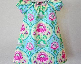Toddler Girls Dress Peasant Dress in Pink Aqua Yellow Summer Dress Little Girls Dress
