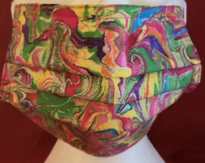 Pink, Green and Yellow Print Face Mask, cotton fabric front and backing, washable, 7 inch elastic ear hook