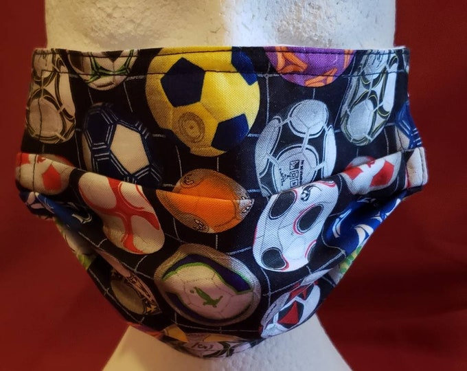Featured listing image: Soccer Print Face Mask, 100% cotton front and backing, elastic ear hook