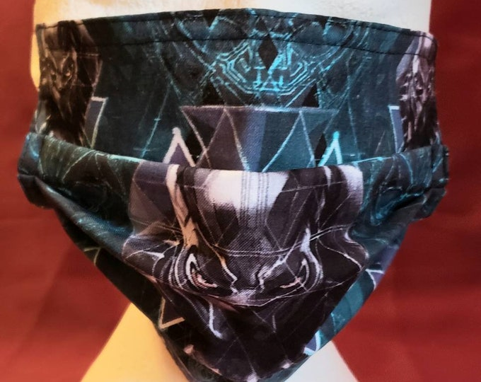 Featured listing image: Black Panther Super Hero Print Bow Tie or Face Mask