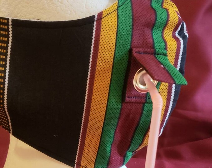 Navy, Green, Burgandy and Gold African Print Face Mask with gold grommet. Washable. 8 inch elastic ear hoop.