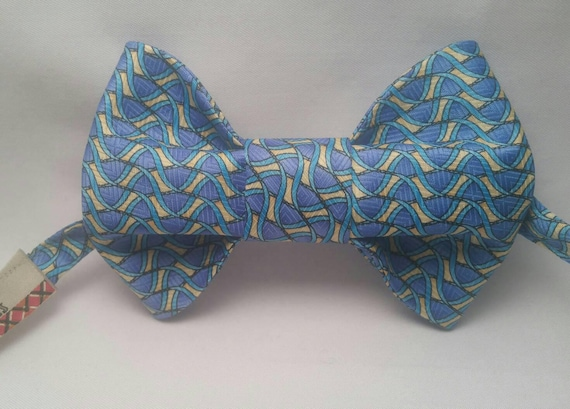 Blue with Yellow Polyester Print bow tie,  Self Tie or Pre-Tied. Both styles are adjustable up to 21 inches with metal bow tie hardware.