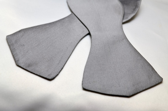 Men's Solid Grey Self Tie Bow Tie