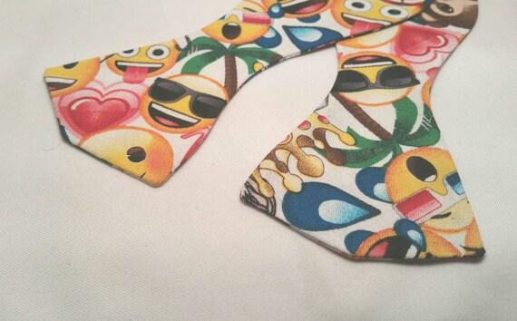 Men's or Boy's Emoji Print Bow Tie, Pre-Tied or Self Tie, 100% cotton fabric
