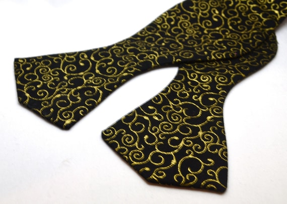 Black or Purple Bowtie Spade or Traditional shape with Gold Metallic Swirls Print, 100% cotton fabric