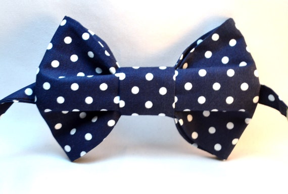 Orange or Navy Blue background with White Polka Dot Print Fabric Bow Tie