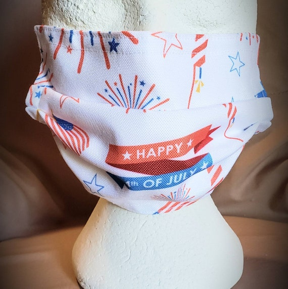 4th of July Print Face Mask, 100% cotton fabric
