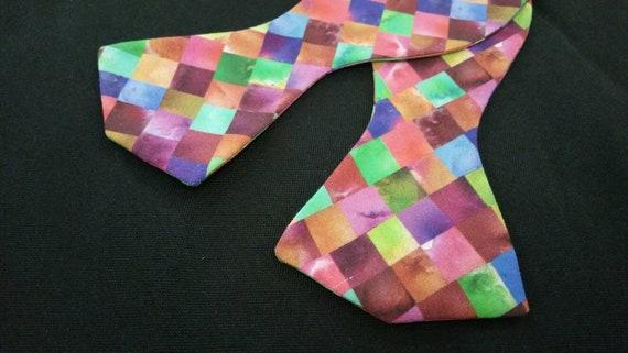 Mosaic Multi Reds, Yellow or Orange Print Bowties Self Tie and Pre-Tied