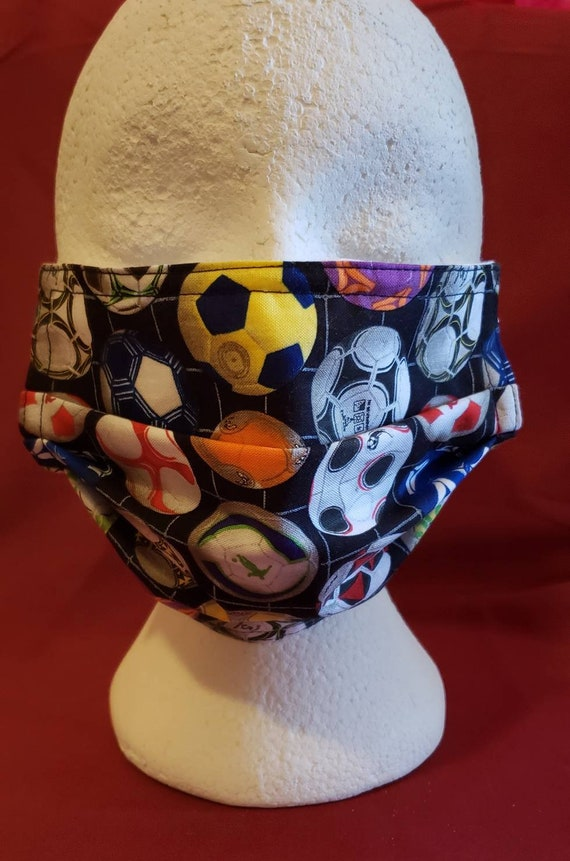 Soccer Print Face Mask, 100% cotton front and backing, elastic ear hook
