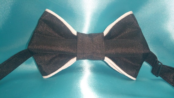 Men's Black Shantung Fabric Bowtie with white piping accent.