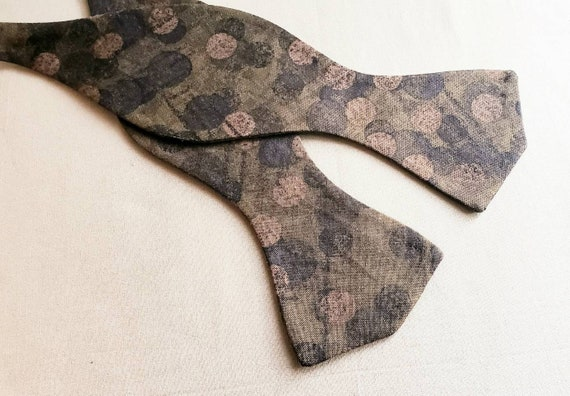 Chocolate Brown Circular Print Self Tie, cotton fabric with metal bow tie slides
