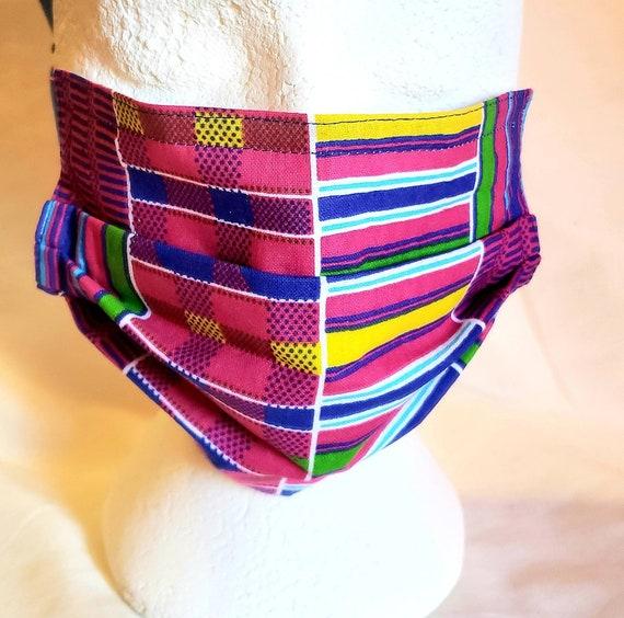 Vibrant Fushia, Royal Blue and Yellow 100% Cotton Kente Cloth Fabric Face Mask, 8x8 finish, 7 inch elastic ear hook