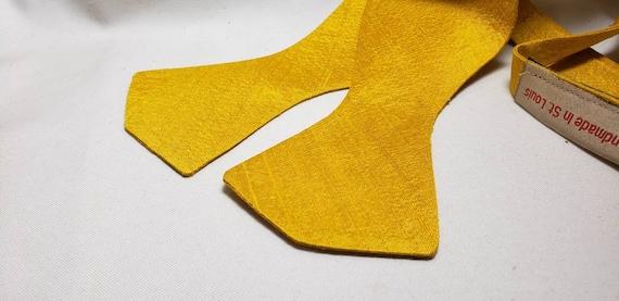 Mustard Gold Silk Bowtie, Self Tie and Pre-Tied Versions
