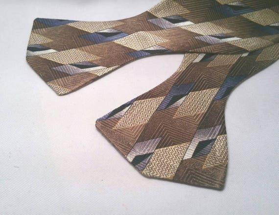 Brown, Tan and Navy Blue Polyester Print Bow Tie