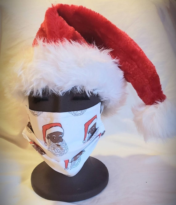 Black Santa Claus Face Mask, Adult and Children Sizes, 100% cotton fabric front and backing, washable, nose guard and polyester ear hoops