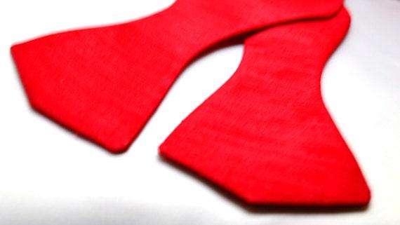 Men's Red Shantung Bow Tie