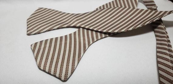 Tan and Cream Stripe Fabric Self tie and Pre-Tied Bowtie