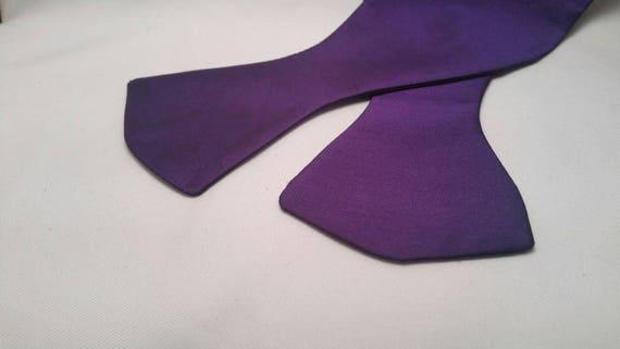 Men's Solid Purple Bow Tie, Pre-Tie or Self Tie